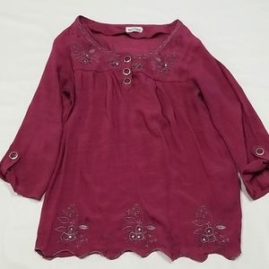 MARIE CLAIRE 3/4 SLEEVE BLOUSE WITH BIG BUTTONS